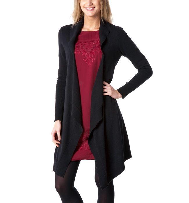 long gilet en tricot femme noir promod prix promo promod 4995 ttc