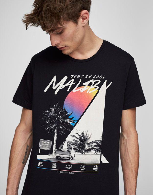 Pull&Bear - man - clothing - t-shirts - malibu city print t-shirt