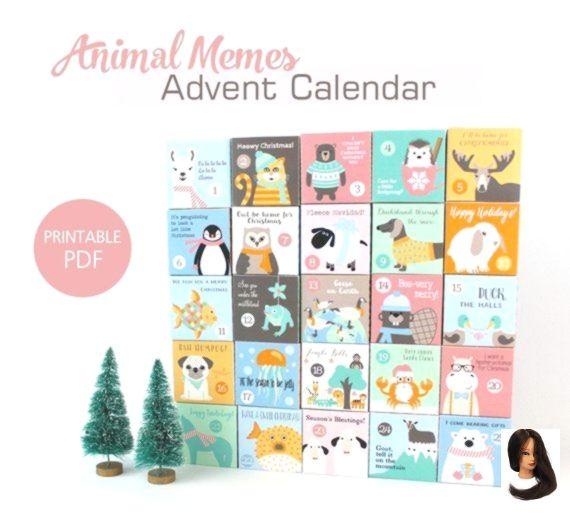 Adventskalender Animal Meme Puns Boxen Dem Druckbare Fur Kinder Lustige Meme Motto Tier Unter Weihnachten Wortspiele Advent Calendar For Kids Fun