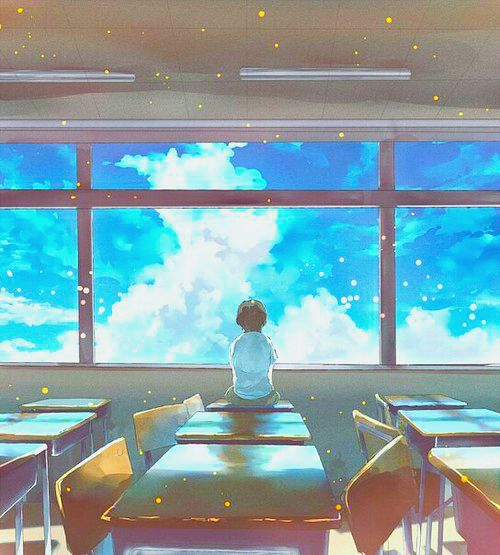 ✮ ANIME ART ✮ anime scenery. . .classroom. . .desks. . .window. . .sky. . .clouds. . .perspective. . .sparkling. . .cute. . .kawaii
