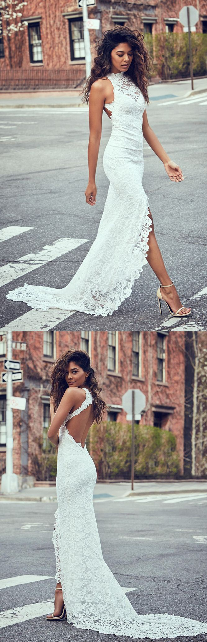 mermaid lace wedding dresses,open back long bridal gowns, simple split wedding dress