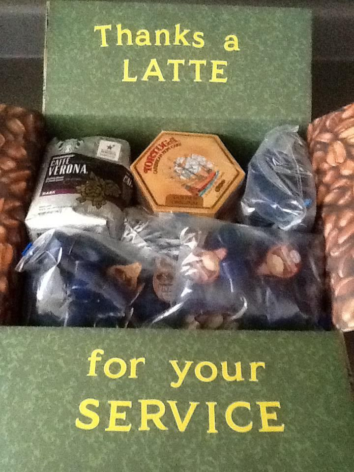 "Care Package for Adopted Soldiers: ""Thanks a Latte For Your Service!"" -- enclosing Tortuga Rum Cakes, Starbucks Coffee, International Delight Coffee Creamer in individual servings, Domino Sugar Packets, and Coffee Stir Sticks"