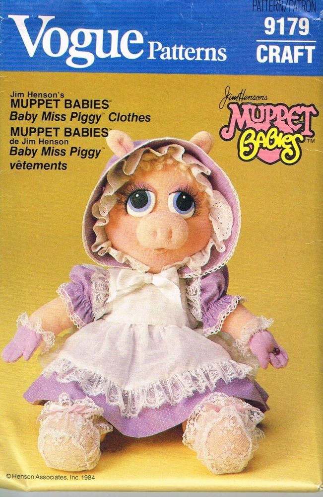 Vintage Vogue 9179 MISS PIGGY DOLL pattern MUPPET BABIES Wardrobe 1984 UNCUT