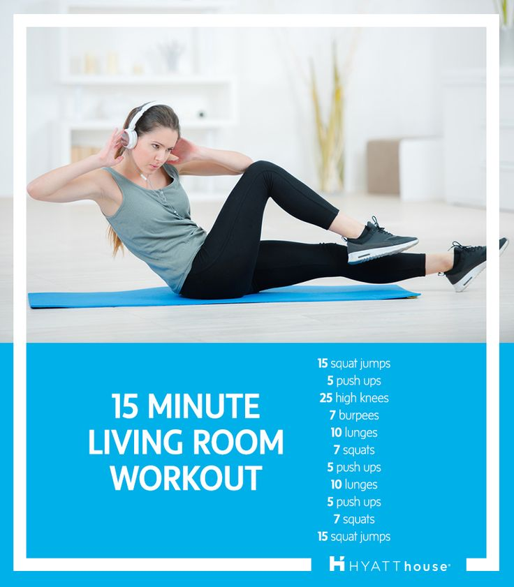 Break a sweat in our spacious living rooms with this quick, yet challenging 15-minute workout.