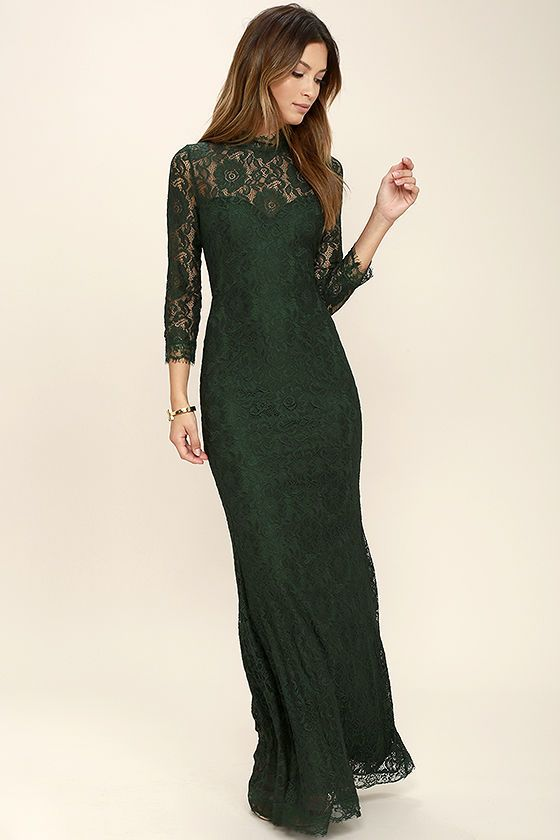 Go after your heart's desire and discover the enchanting effects of the More Than Love Dark Green Lace Maxi Dress! Sheer eyelash lace forms a mock neck, and bodice with a sweetheart silhouette and fitted three-quarter sleeves. Mermaid maxi skirt. Hidden back zipper/clasp.