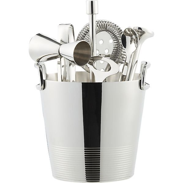 Gatsby Bar Tools with Ice Bucket in Bar Accessories | Crate and Barrel