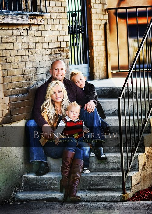 I like the clear sharp picture in this one, and the relaxed family pose, and the urban edge - but I really don't think it's 'us'.