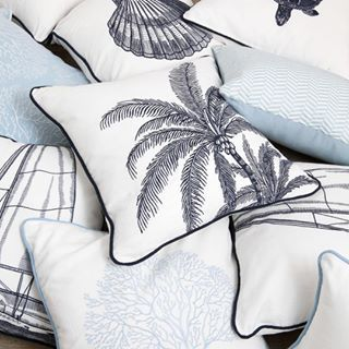 Perfect for a coastal inspired home, these cushions feature embroidered illustrations of palm trees, coral, sailing boats, shells and more. They are available in our most popular colour palettes of blue and white and sea foam and white.⠀ .⠀ .⠀ #cushions #embroideredcushion #nevertoomanycushions #alfrescoemporium #islandemporium #bundall #collaroy #interiorinspiration #decorlove