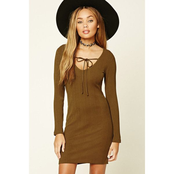 Forever21 Self-Tie Bodycon Dress (17 AUD) ❤ liked on Polyvore featuring dresses, golden haze, v neck bodycon dress, brown bodycon dress, v neck dress, full length dresses and body con dresses