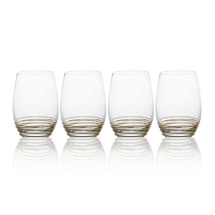 Buy Swirl Gold Set of 4 Stemless Wine Glasses online at ...