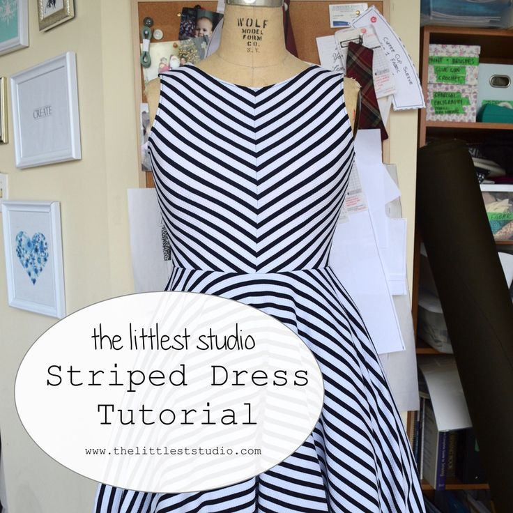 Striped Dress Tutorial using bodice pattern and circle skirt template. And those…