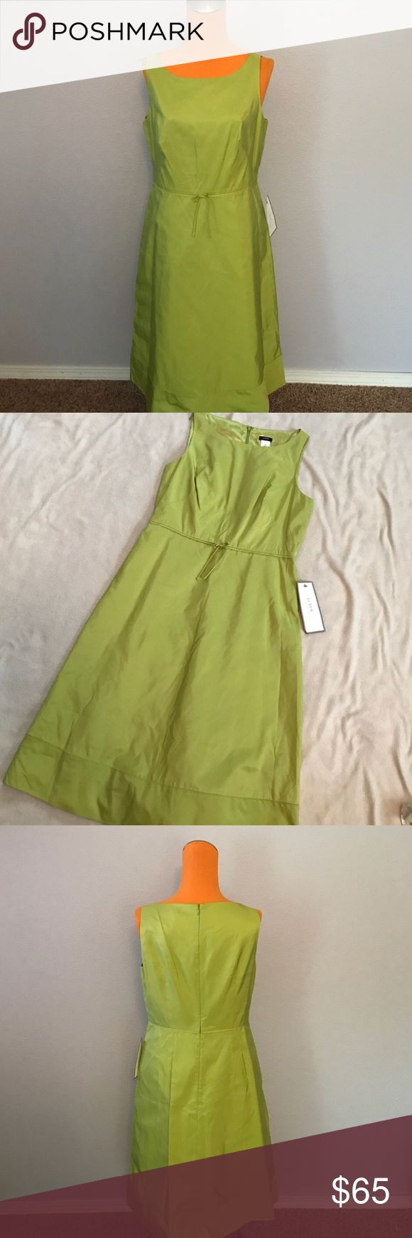 """J Crew Grace Silk Faille Light Green Tea Dress 40"""" length 19"""" armpit to armpit. Lime to light green color. 100% silk. Tags still attached. Made to style like Grace Kelly. Tea length dress. Fully lined. Boat Neck style Sleeveless Dress. Light bow around waist. Zips up the back middle. Excellent condition. J. Crew Dresses Midi"""