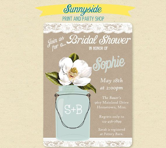 Southern Magnolia Bridal Shower Invite  by sunnysideprintparty, $14.00