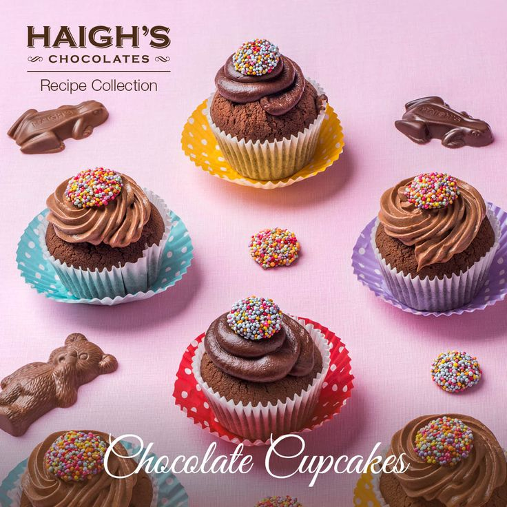 Haigh's Chocolate Cupcakes Made with Haigh's Dark Chocolate Pastilles these cupcakes are deliciously fudgy and chocolatey. Decorate with a chocolate ganache or chocolate buttercream. Haigh's Milk or Dark Speckles make a fun decoration to this indulgent and fun cupcake.