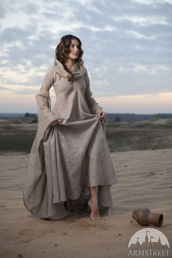 Fantasy Dress Wanderer hooded dress flax dress by armstreet