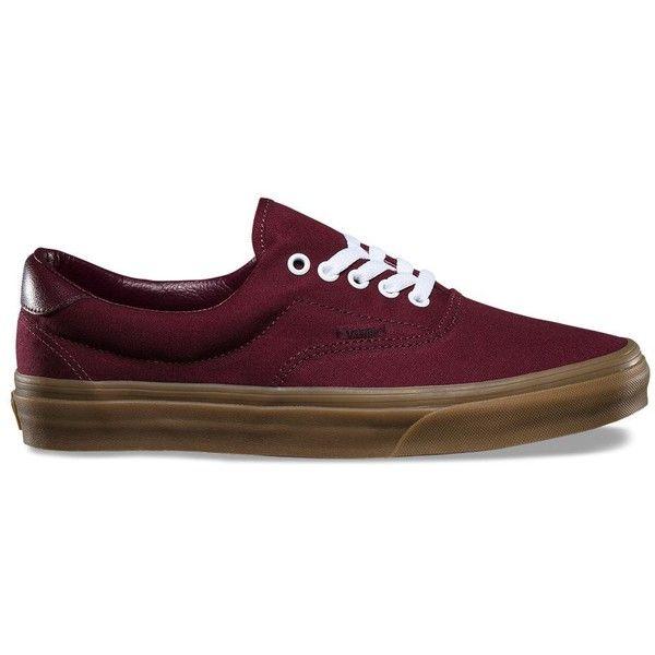Vans Canvas Gum Era 59 ($55) ❤ liked on Polyvore featuring men's fashion, men's shoes, men's sneakers, burgundy, mens lace up shoes, mens skate shoes, mens canvas sneakers, mens canvas shoes and vans mens shoes
