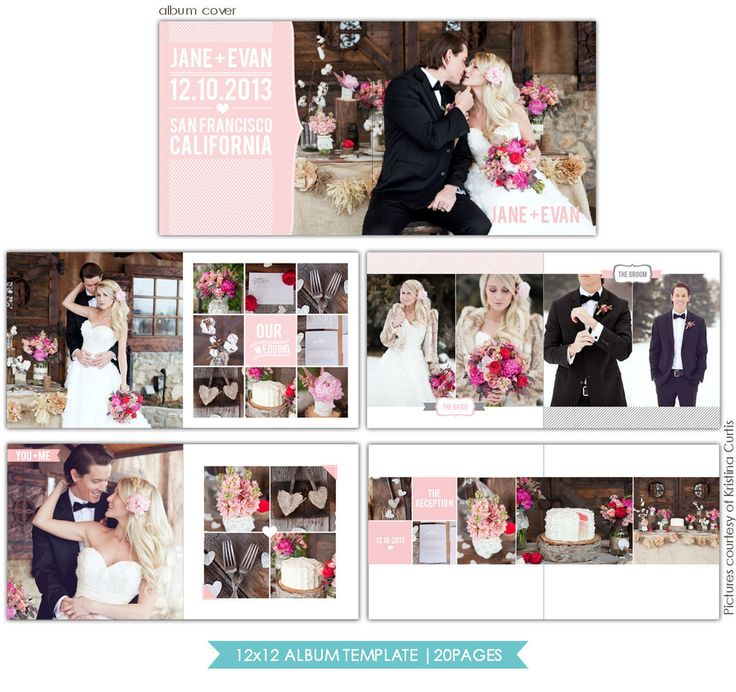 Heartfelt Love 12x12 Wedding Al Template