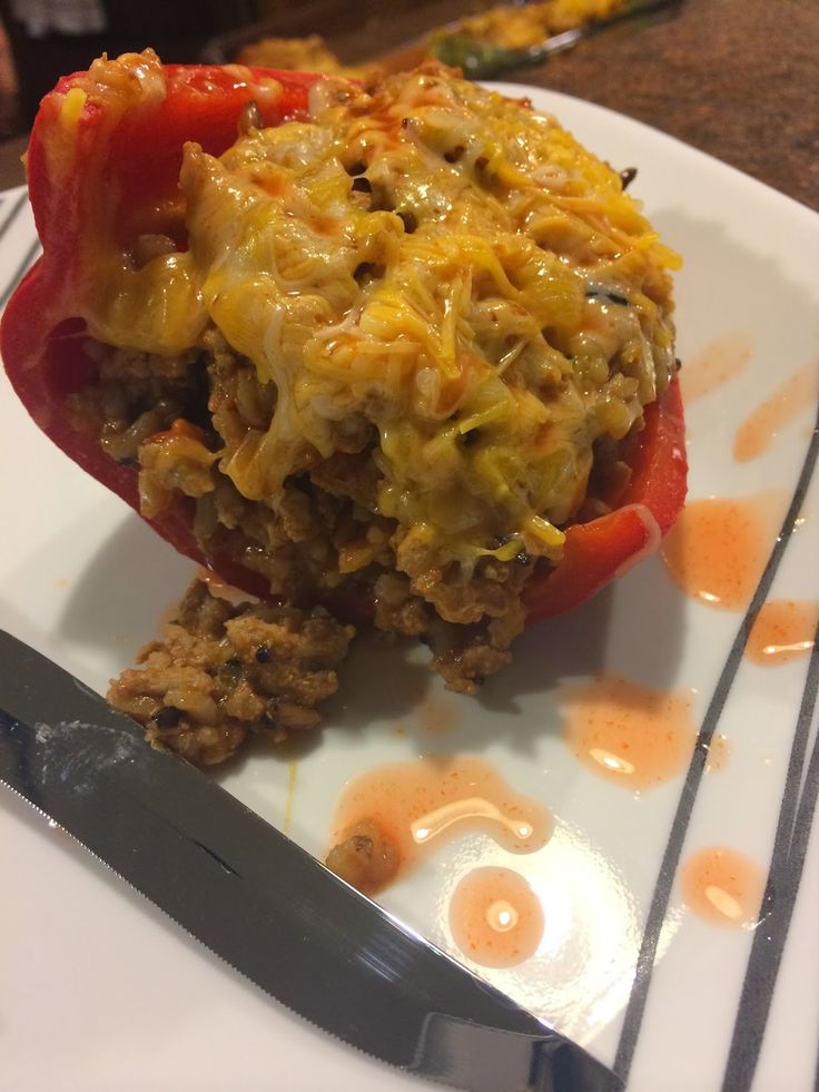 Turkey stuffed peppers, Clean eating recipes and Stuffed peppers on ...