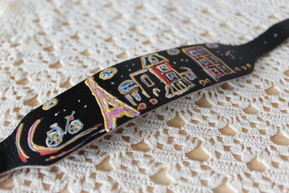 Paris jewelry Leather cuff/Boho bracelet handmade by Ninodesigns