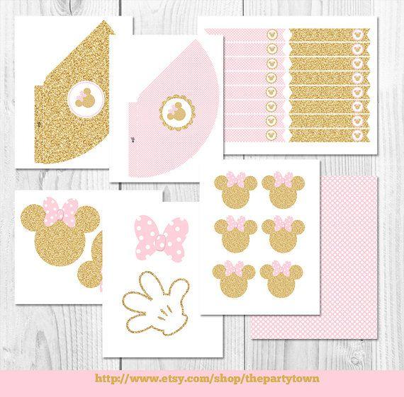 Rosa y oro paquete de fiesta de Minnie Mouse por ThePartyTown                                                                                                                                                     Más