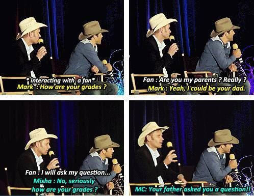Supernatural. Just Lucifer and a fallen angel of the Lord asking about someone's grades. While wearing cowboy hats