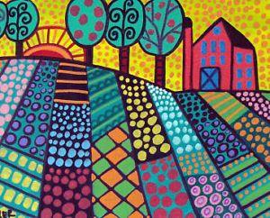 folk art   ... Folk Art Primitive Landscape Trees Poster Print Painting Art Gift