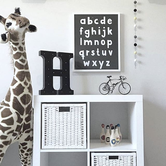 Alphabet monochrome kids wall art print - Makers Ink.    Styling & pic by @hausofhudson_and_nate_    nursery decor styling interior kids room playroom design