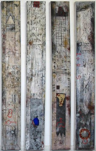 Very cool maybe use old school papers/ primitive paintings and encaustic medium....