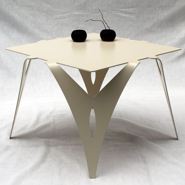 bout de canap design en mtal table de chevet en mtal coloris blanc ou ivoire - Bout De Canape Design