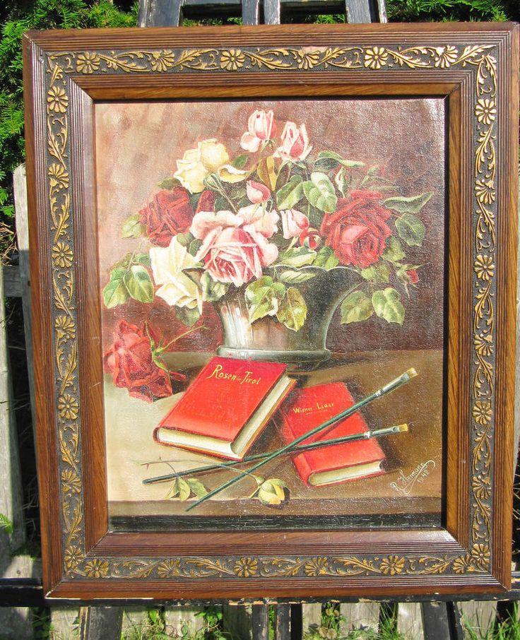 ÖL AUF LEINEN RAHMEN STILLLEBEN TIROL ROTE ROSEN RED ROSES FLOWERS
