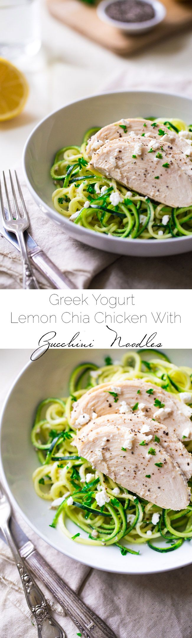 Lemon Chia Greek Yogurt Chicken and Zucchini Noodles - A super easy, low carb and healthy weeknight meal that is perfect for Spring time! | Foodfaithfitness.com | @FoodFaithFit