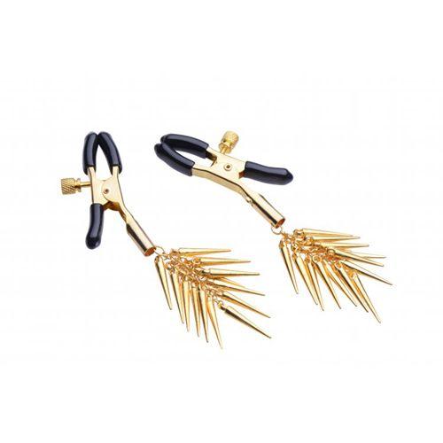Verlockende Verstellbare Nippelklemmen mit Goldenen Spitzen #bdsmstorede #nippelclips #nippelklemmen #nippelfetisch