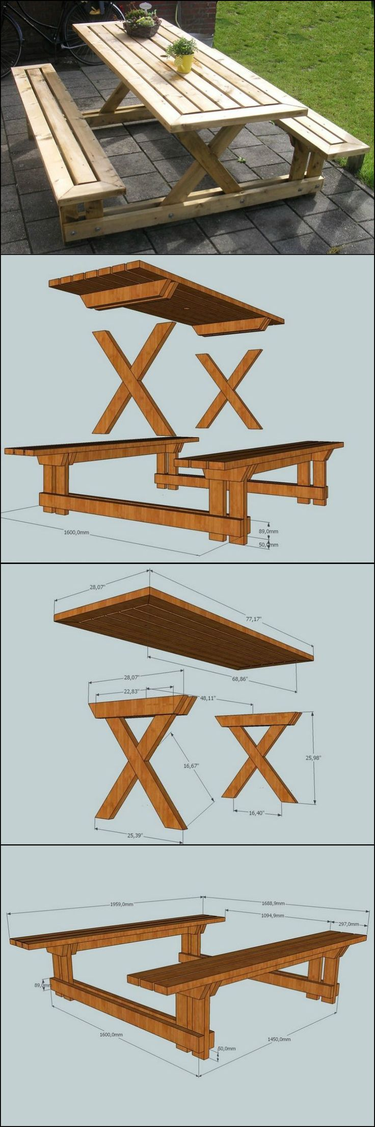 25+ best ideas about Wooden picnic tables on Pinterest ...