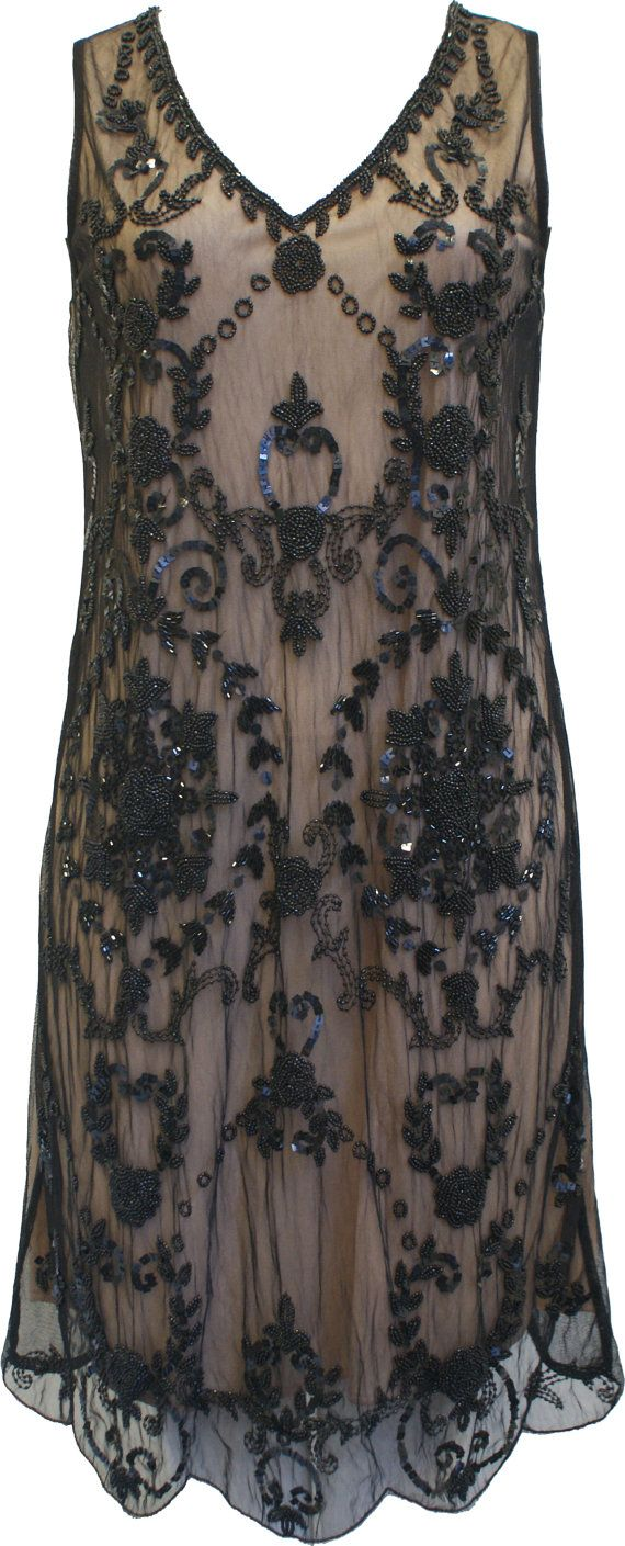 Black Nude Plus Size UK 22 USA size 18 Vintage inspired 1920s vibe Flapper Gatsby Beaded Charleston Sequin Deco Dress New with Tag Hand Made...