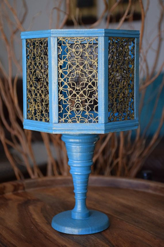 Vase Handmade Blue and Gold Octagon by ThadamCreativeDesign