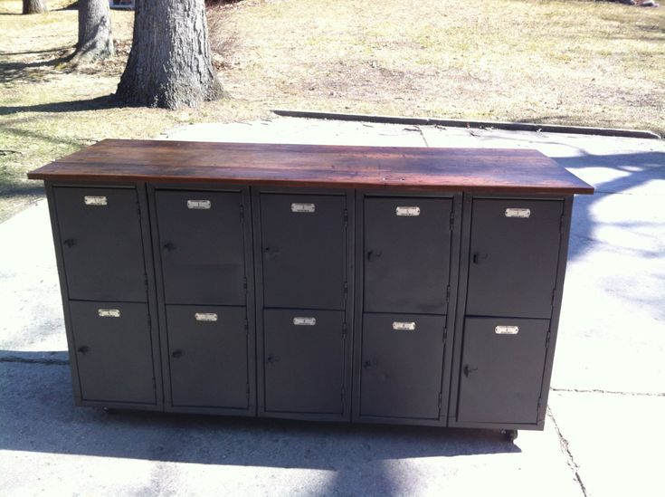 Vintage Locker Table With Reclaimed Wood Top 1 250 00
