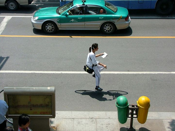 Floating Around the City on an Invisible Bike