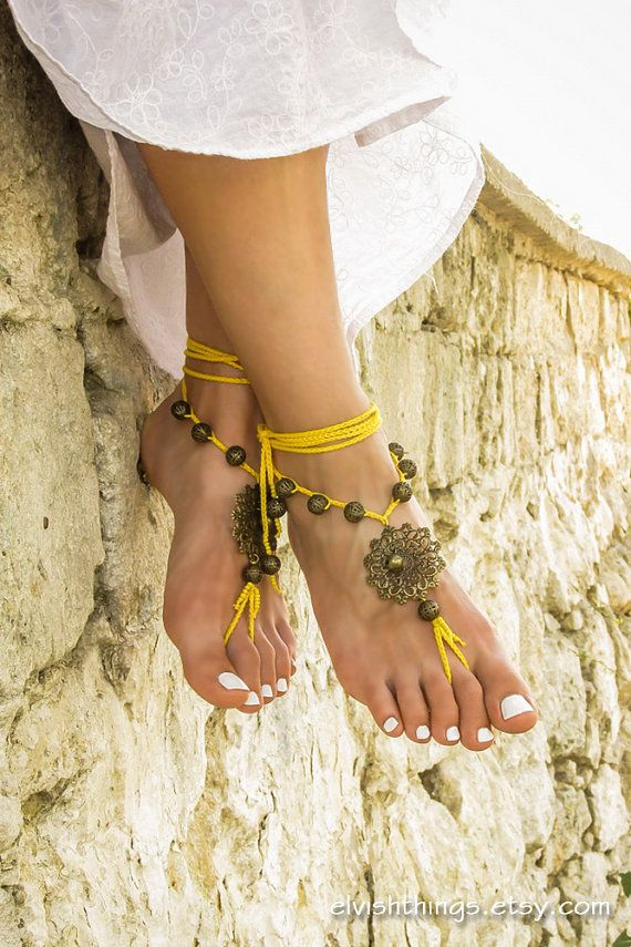 Gypsy barefoot sandals Boho footless sandles Yoga bare foot jewelry Beaded bottomless sandals Beach wedding soleless sandal Bohemian anklet by ElvishThings