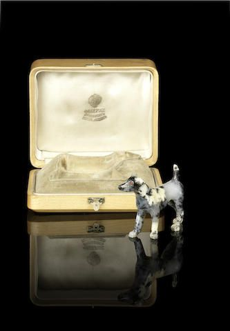 A hardstone model of a dogretailed by Fabergé, St. Petersburg, circa 1910