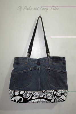 Old Jeans to Bag DIY ... http://ofpinksandfairytales.blogspot.com.br/2011/08/old-jeans-to-bag.html