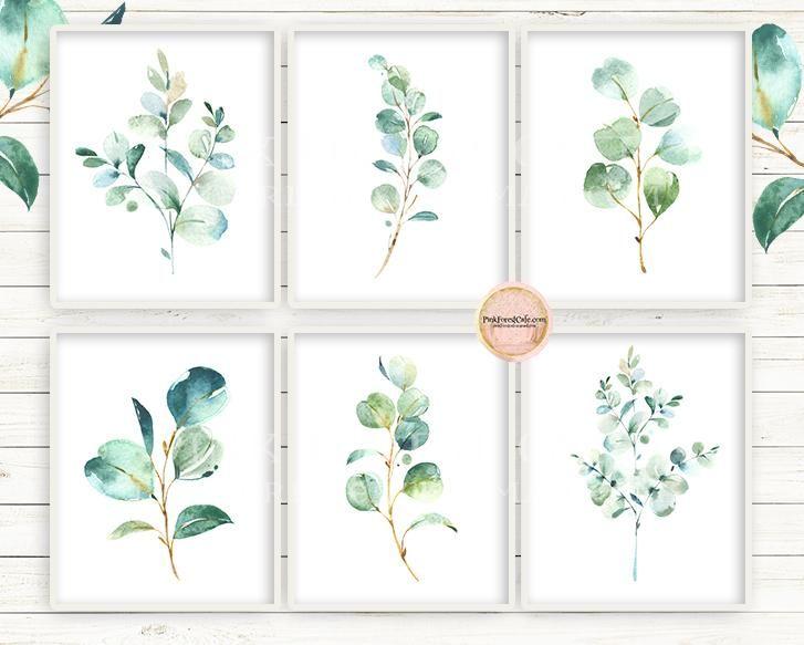 6 Eucalyptus Botanical Wall Art Print Baby Nursery Gender Neutral
