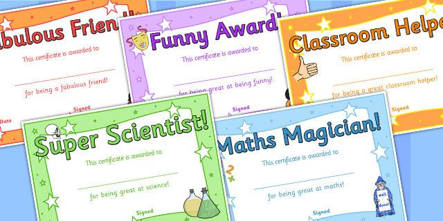 End Of Year Award Certificates - reward, awards, end of term