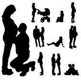 pareja embarazada : Vector silueta de una mujer embarazada de un hombre sobre un fondo blanco.