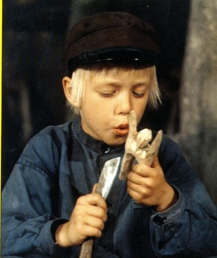 "Emil in Lönneberga | Astrid Lindgren. In every episode,Emil gets in trouble and his father shouts, ""Emiiiiiiill!"" and sends him to a shed where he makes wooden figures while waiting to get out."