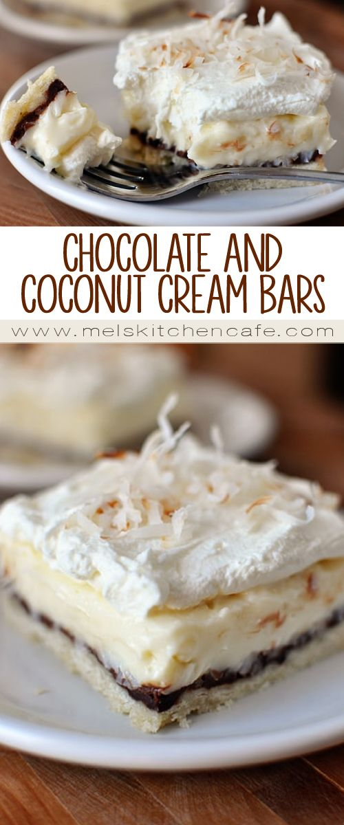 These chocolate and coconut cream pie bars have a tender crust followed by a slathering of dark chocolate, and then topped with coconut cream and whipped cream. Yum!