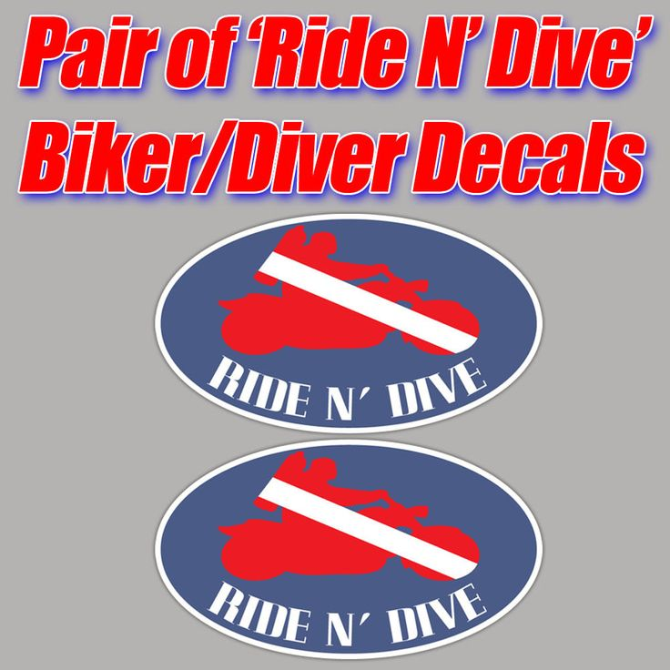 Ride n dive scuba sticker decal diver down biker graphic