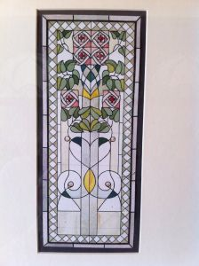 stained glass window painting, house of owls, by Paolo Paschetto