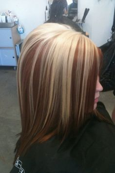 Long Bob With Lowlights Blonde And Red Brown Highlights