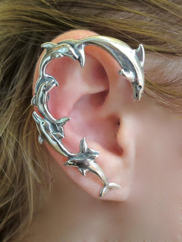 Silver Dolphin Ear Wrap. $139.00, via Etsy. So cute!!Diy Jewelry Holder, Dolphins Earrings, Cuffs Earrings, Silver, Funky Fashion, Ear Cuffs, Ears Wraps, Dolphins Ears, Ears Cuffs
