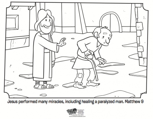 Kids Coloring Page From Whats In The Bible Showing Jesus Healing A Crippled Man